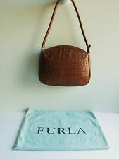 Furla Chestnut Brown Croc Embossed Medium Leather Shoulder Bag Made In Italy-EUC