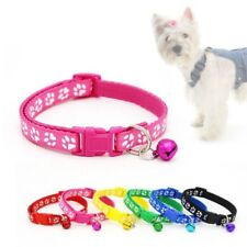 Small Dog Cat Collar Adjustable Cute Paw Print Pet Puppy Necklace Bell 8 Colours