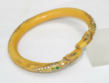 Vintage Celluloid Bracelet Bangle Rare Art Nouveau Double Ram Head Rhinestone