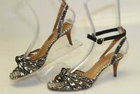 Coach Womens 6 B 36 Meg Printed Leather Ankle Strap Sandals Heels Shoes