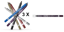 3 X PURPLE RIMMEL SCANDALEYES WATERPROOF KOHL LONG WEAR EYE LINER PENCILS NEW