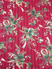 Christmas Holiday Table Cloth Cover Linen Pinstripes Holly Ribbons Square Cotton