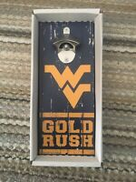West Virginia University WVU Wooden Wall Mounted Bottle Opener Mountaineers NEW