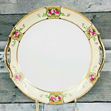 Antique Nippon Hand Painted Pink Floral Pattern Plate Gold Trim Handles Japan