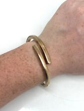 A Vintage Gold on Sterling Silver 925 Italy Cross Over Bangle Bracelet #21871