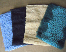 "Lot 10 Yards 5.5""-7"" Wide Stretch Floral Lace Peacok Blue,Yellow,Navy,Blue H0052"