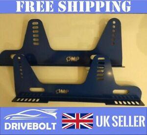 BLUE Bucket Seat Side Mounts Brackets OMP Sparco Cobra Race Rally FIA MSA Pair