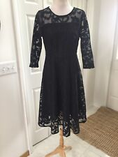 NWT Yiso Fit Flare Black Lace Dress Formal Wedding  3/4 Sleeve XL