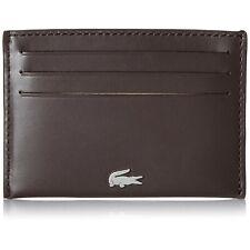 NWT LACOSTE FG Credit Card Case Holder Wallet Logo Dark Brown Bill NH1346FG