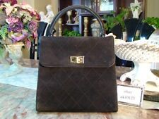 Authentic CHANEL 1999 SUEDE STITCH COCO HAND BAG PURSE Good usable