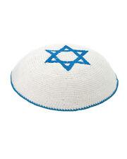 Blue White Star Of David Knitted Yarmulke Kippah 16 cm Jewish Kippa Judaica Hat
