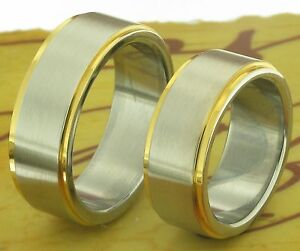 2 Bicolor Ringe Eheringe Trauringe Verlobungsringe Partnerringe mit Gravur