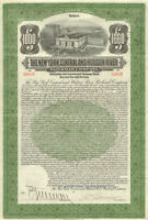 1913 New York Central Hudson River Railroad stock $1,000 bond with coupons