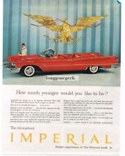 1958 CHRYSLER Imperial Red Convertible under US Great Seal Eagle Vtg Print Ad
