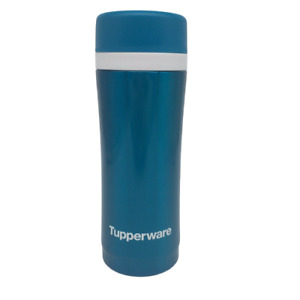 Tupperware Insulated Thermal Flask Tea Strainer Travel Tumbler Peacock Blue 14oz