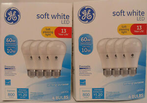 GE Basic 60-Watt A19 Soft White LED Light Bulb (8 BULBS) uses 10 watts Dimmable