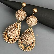 Antique Victorian Old Georgian 14kt Filigree Gold Seed Pearl Dangle earrings