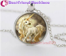 Cute unicorns Cabochon Glass silver necklace for women men Jewelry