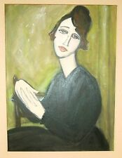 Seated Woman In A Black Dress Original painting 18 x 24in. After Modigliani