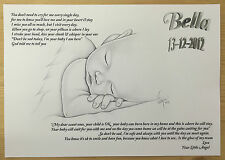 Your little Angel, personalised  A4  keepsake poem ~ NEWBORN/STILLBORN