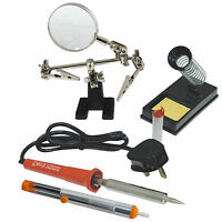 soldering iron kit 40w Practical Stand, Solder Pump 10g Wire + Magnifying Glass