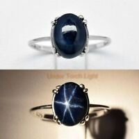 9x7mm Natural 6 Ray Star-Sapphire Ring in 925 Sterling Silver