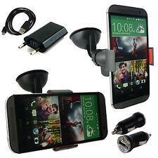 Supporto auto parabrezza + Kit caricabatterie Casa / Auto per HTC ONE M8 - Nero