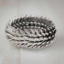 Chunky Feather Silver Charm Stretch Bracelet Boho Jewellery