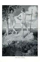 Scheideweg XL Kunstdruck Ludwig von Hofmann weiblicher männlicher Akt Paradies