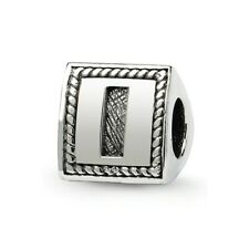 Letter I Triangle Block Bead .925 Sterling Silver Antiqued Reflection Beads