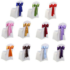 1 25 50 100 Satin Sashes Chair Cover Bow Sash WIDER FULLER BOWS Wedding Party