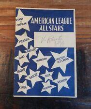 1950'S AMERICAN LEAGUE ALL-STARS VS BUICK ACES BASEBALL SCORECARD W/AUTOGRAPHS