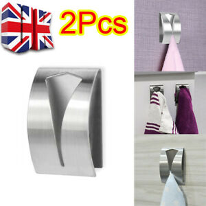 2X Push In Tea Towel Holder Grip Hook Chrome Self Adhesive Kitchen Cloth Clip