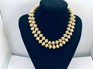 VTG. MONET TEXTURED GOLD TONE 2-STRAND BEADED NECKLACE