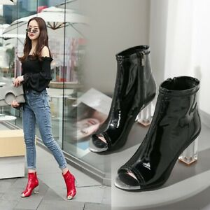 NEW FASHION Women Ankle Boots Peep Toe Clear Heel Zip Spring Summer Boots Shoes