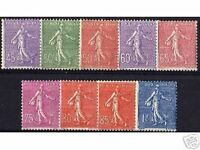 "FRANCE STAMP YVERT N° 197 / 205 "" SERIE SEMEUSE 9 TIMBRES "" NEUFS xx LUXE"