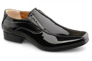 Boys Patent Wedding Shoes Black Formal Prom School Suit 10 - 6