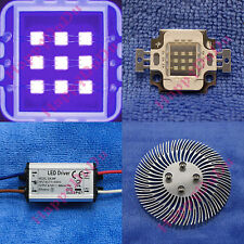 10W UV 365nm Purple LED Lamp Light for Aquarium Curing + AC Driver + Heat Sink