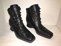 Timberland Women's Black Leather Lace Up Wedge Heel Boots Size 8M 19346 EUC!