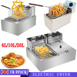 10L/20L Commercial Electric Deep Fryer Fat Chip Single/Dual Tank Stainless Steel