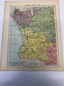 Map 1935: Central Africa( West) & Transvaal Orange Free State Natal 85 Years Old