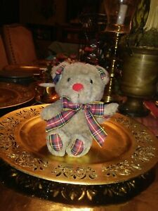 Applause Brown Bear Plush with red nose and Scottish Plaid Bow Hands and Feet.