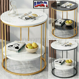 2 Tier Round Coffee Table Sofa Side End Table Home Decor Rack Shelf Holder