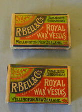 Original Antique R.Bell & Co. Royal Wax Vestas New Zealand Full Match Boxes