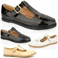 WOMENS GIRLS FLAT CUT OUT MARY JANE T-BAR GEEK PUMPS BLACK PATENT SHOES SIZE