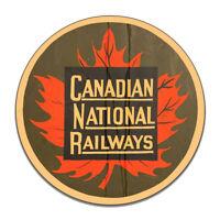 Canadian National Railways Train Transportation Round MDF Wood Sign
