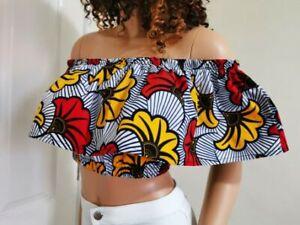 TINA Woman African Print Off-Shoulder Top 100% Wax Cotton Handmade UK