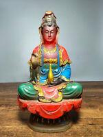 """8.8 """"Vieux chinois couleur glaçure peinture siège  Guan Yin déesse Statue"""