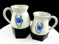 "STUDIO ART POTTERY 2 PIECE BLUE TULIPS HAND THROWN 3 3/4"" MUGS"