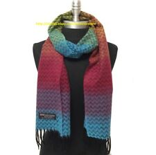 100% CASHMERE SCARF Chevron Green/Orange/Berry/Blue SCOTLAND SOFT Warm Wool Wrap